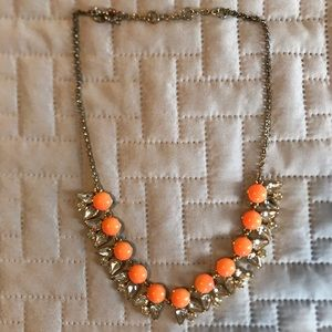 Jcrew Orange Necklace with Diamond Embellishments